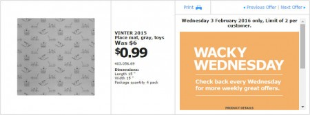 IKEA - Calgary Wacky Wednesday Deal of the Day (Feb 3) A