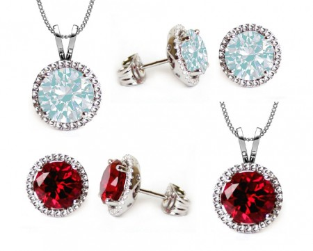 Birthstone Pendant and Earring Jewellery Set