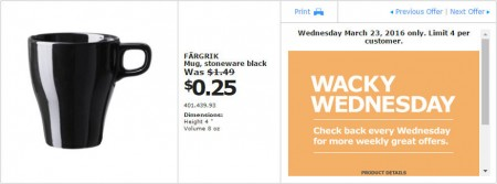 IKEA - Calgary Wacky Wednesday Deal of the Day (Mar 23) B