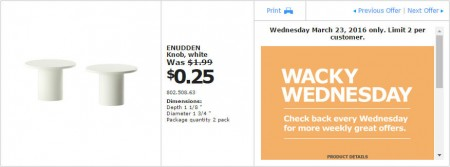IKEA - Calgary Wacky Wednesday Deal of the Day (Mar 23) C