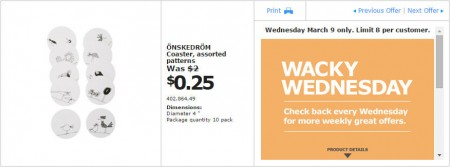 IKEA - Calgary Wacky Wednesday Deal of the Day (Mar 9) C
