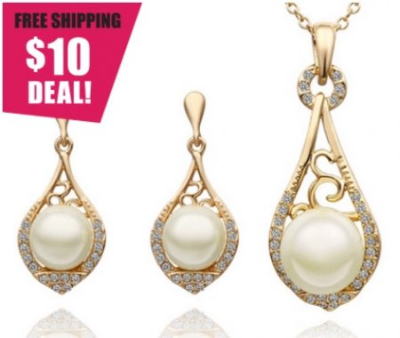 18K Gold-Plated Pearl Necklace