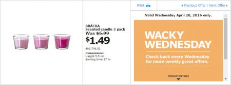 IKEA - Calgary Wacky Wednesday Deal of the Day (Apr 20) B