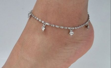 18k White Gold Plated Puff Heart Anklet