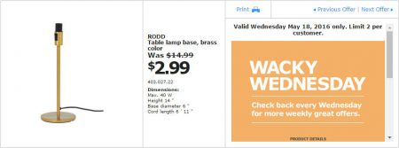 IKEA - Calgary Wacky Wednesday Deal of the Day (May 18) B