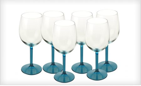 Set of 6 Blue 400ml Wine Glasses