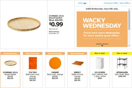 IKEA - Calgary Wacky Wednesday Deal of the Day (June 8)