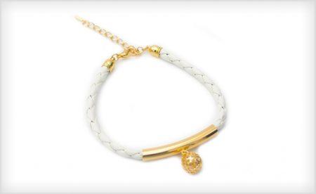 Leather Crystal Charm Bracelet