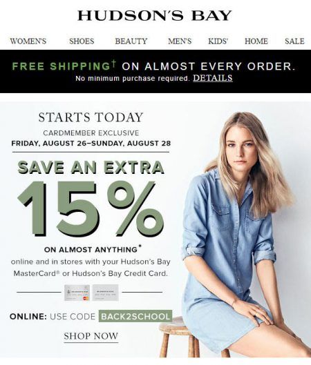 Hudson's Bay Free Shipping on Almost Every Order + Extra 15 Off Promo Code (Aug 26-28)