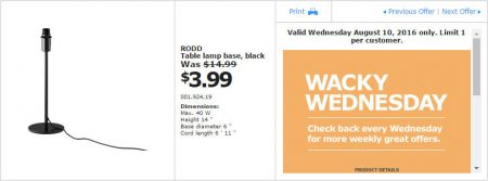 IKEA - Calgary Wacky Wednesday Deal of the Day (Aug 10) A