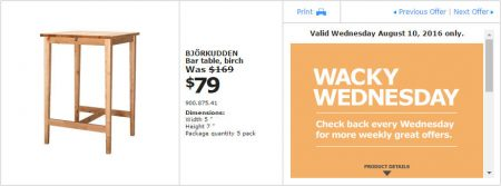 IKEA - Calgary Wacky Wednesday Deal of the Day (Aug 10) C