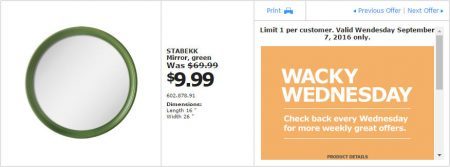 IKEA - Calgary Wacky Wednesday Deal of the Day (Sept 7)